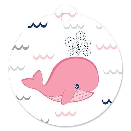 Big Dot of Happiness Tale Of A Girl Whale - Baby Shower or Birthday Party Favor Gift Tags (Set of 20) ()