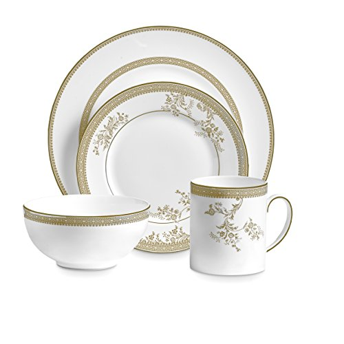 (Wedgwood 40030695 Vera Lace Gold 4, 4 Piece Set, White)