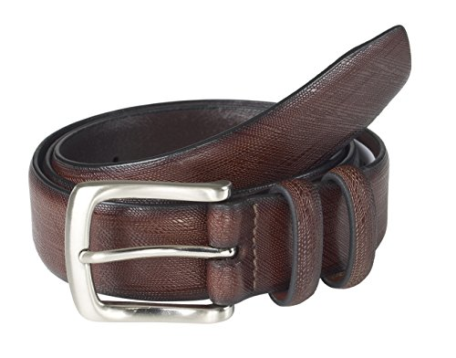 Sportoli Men's Classic Genuine Leather Saffiano Dress Belt - Brown (Size 34)
