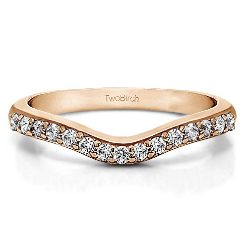 CZ Delicate Curved Wedding Rin