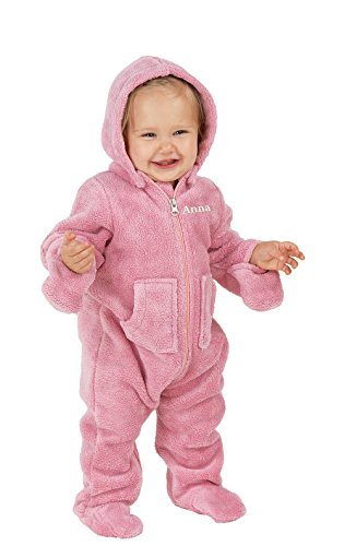 PajamaGram Hoodie-Footie Zip-Front Fleece Onesie Pajamas, Pink, 6 Months by PajamaGram