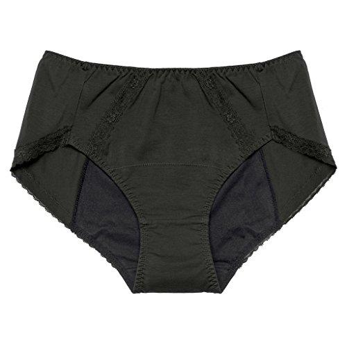 Intimate Portal Women Total Leak Proof Protective Incontinence Briefs 3-pk Black Floral Beige 3XL