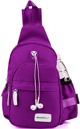 GPCT Nylon Crossbody Shoulder Chest Sling Bag Daily Travel Backpack (Purple)