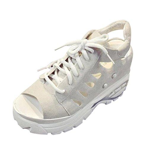 Transer® Damen Sandalen/Mokassins Peep-Toe Schnüren Dick Heel Wildleder+Gummi Rosa Schwarz Beige Sandalen (Bitte achten Sie auf die Größentabelle. Bitte eine Nummer größer bestellen) Beige