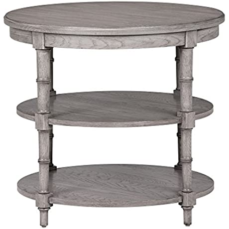 Ethan Allen Allistair Round Side Table Sunwashed Gray