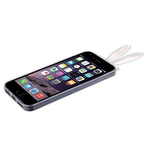 "BACK CASE 3D BUNNY OHREN grau transparent für Apple iPhone 6 4,7"" Apple iPhone 6S Hülle Cover Case Schutzhülle Tasche Teddy"