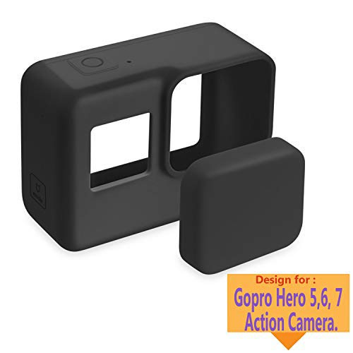 TASLAR Silicone Protective Cover Soft TPU Case Accessories and Lens Cap Protector Cover for Gopro Hero 5/6 / 7 Action Camera (Black) Price & Reviews