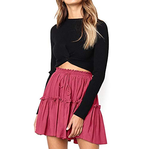 - Floral Ruffle Short Skirt for Women Boho A-line Skater Mini Skirts Casual Party