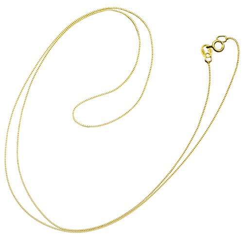 (14K Solid Yellow Gold Necklace | Box Link Chain | 18 Inch Length | .60mm Thick | With Gift)