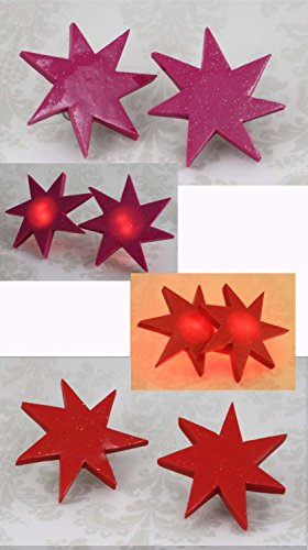 Jem Holograms BLINKING LED Star Earrings (Pink / Red) (Jem And The Holograms Halloween Costume)