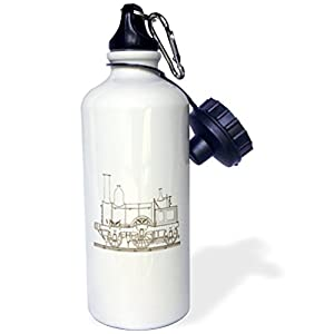 "3dRose wb_194696_1″""Print of Brown Steampunk Train"" Sports Water Bottle, 21 oz, Multicolor"