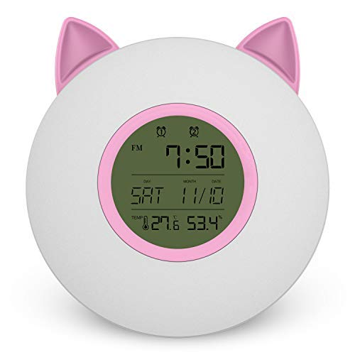 (Actume Smart LED Wake-up Light, Bedside Night Light with Function of Temperature and Frequency, Cat Ear Alarm Clock)