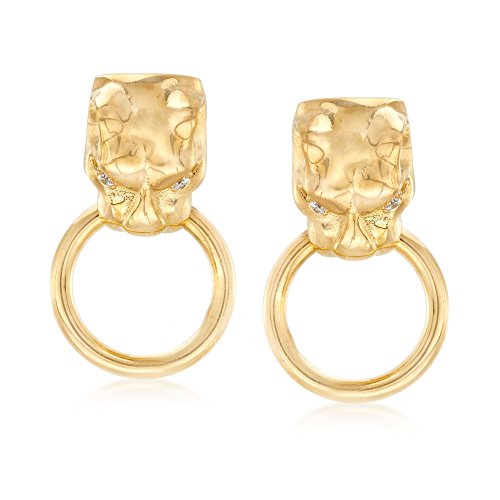 (Ross-Simons Italian 18kt Yellow Gold Over Sterling Silver Panther Head Doorknocker Earrings With CZ Accents )