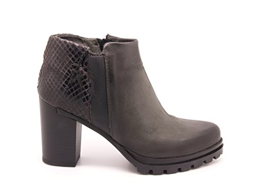 Graphite sole closure zip and boot rubber Leather 8 Ankle Boots cm heel qxwp6TFOxt