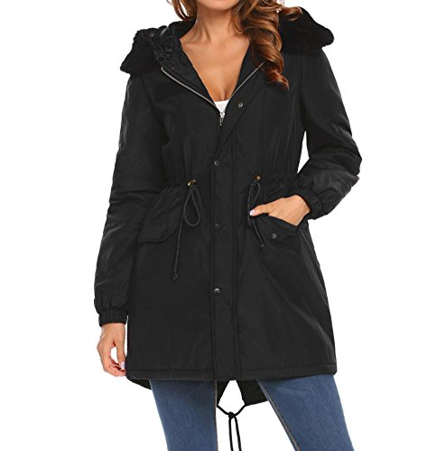 Meaneor Donna Cappotto Black Parka Meaneor Black Donna Cappotto Parka 4WRWnSxz7
