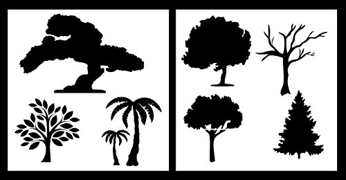 Auto Vynamics - STENCIL-TREESET01-10 - Detailed Tree/Trees Stencil Set - Includes Multiple Designs from Oak to Palm! - 10-by-10-inch Sheets - (2) Piece Kit - Pair of Sheets (Dead Tree Stencil)