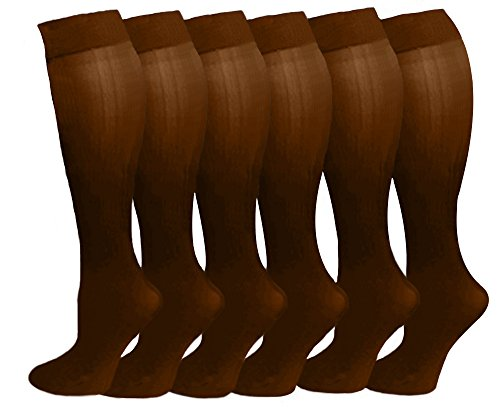 Lycra Opaque Stockings - 6 Pairs Women's Opaque Spandex Trouser Knee High Socks Queen Size 10-13 (Coffee)