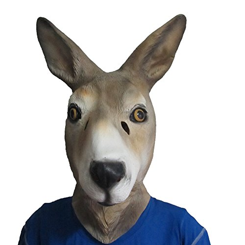 Monstleo Latex Rubber Kangaroo Animal Head Mask Halloween Party Costume Decorations
