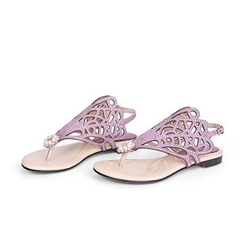 AmoonyFashion Womens Blend Materials Solid Buckle Split Toe Low Heels Sandals Lightpurple P7SttW