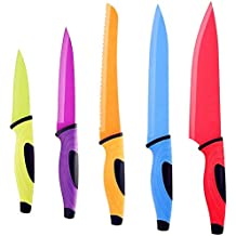 Knife Set, QcoQce 5 Kitchen Knives with 5 Knife Sheath Covers, Chef Knife Sets with Carving Serrated Utility Chef's and Paring Knives - Colored Knife Set FDA Approval (Kitchen Knife)
