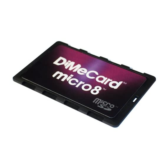 DiMeCard micro8 microSD Memory Card Holder (Ultra thin credit card size holder, writable label) 4 Ultra-slim design - 1/10th inch thin, credit card size for wallet (thinnest in the world!) Writable panels to note memory card contents Ideal companion for camera phones, smart phones & tablet PC's