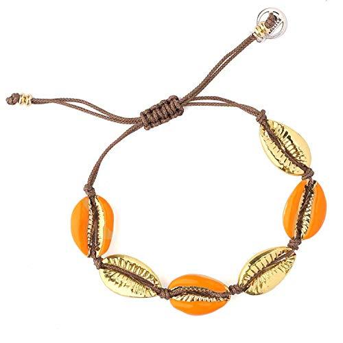 KELITCH Natural Shell Gold Shell Cowry Beaded Friendship Bracelets Boho Fashion Beach Seashell Strand Bracelets Women Jewelry (Orange) ()