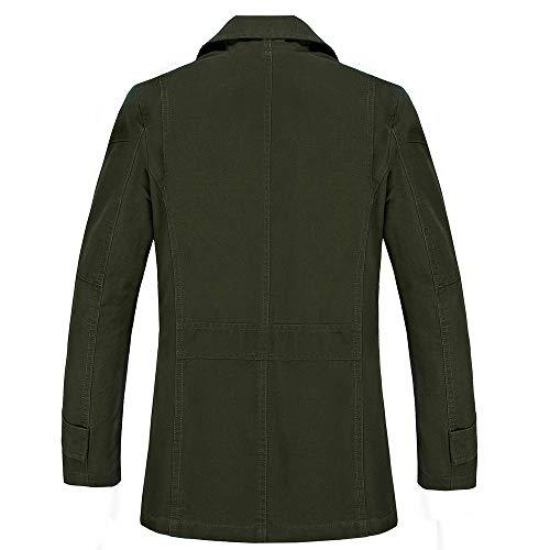 Hombre La Rompevientos Botón Abrigo Abrigos Solapa Casual Ejercito Longitud chaquetas Invierno Otoño Algodón De Medio Verde dwqvp8Tcw