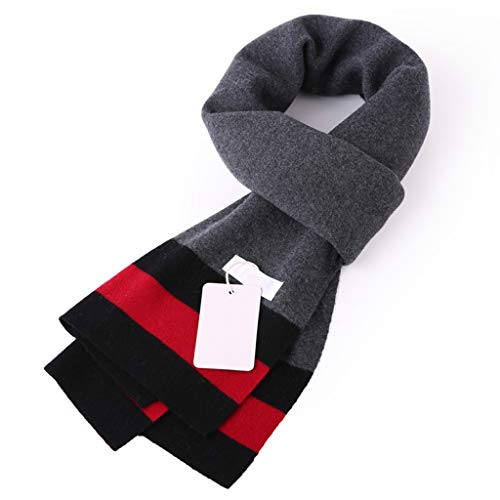 AX-living supplies Thicken Men's Scarf Autumn and Winter Warm Shawl Artificial Wool/red and Black Stripes 18030 cm ()