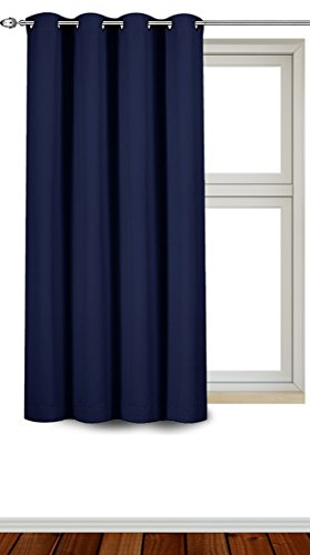 Utopia Bedding Blackout Room Darkening Curtains Window Panel Drapes - Navy Color - 1 Panel - 52 Inches Wide by 63 Inches Long - 8 Grommets/Rings per Panel - 1 Tie Back Included
