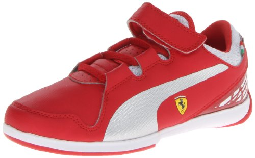 Puma Ferrari Velcro - PUMA Valorosso Ferrari Hook-and-Loop Sneaker (Infant/Toddler/Little Kid) , Rosso Corsa/Silver Metallic/White, 4 M US Toddler