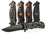 3-in-1 Army & Military Tactical Knife for First Responders with Glass Breaker, Seatbelt Cutter and Steel Serrated Blade