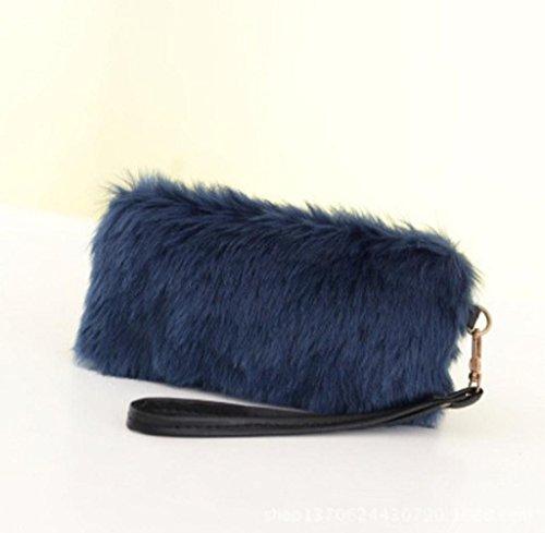 Tongshi Nueva mujeres calientes bolso bandolera peluche bolso bolso de mano cartera azul
