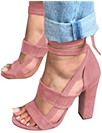 Womens Strappy Lace up Pumps Peep Toe Ankle Wrap High Chunky Block Heel Sandals