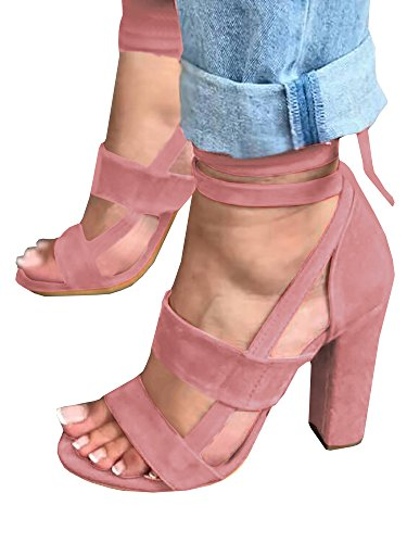 - Syktkmx Womens Strappy Lace up Pumps Peep Toe Ankle Wrap High Chunky Block Heel Sandals