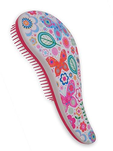Ouchless Detangler (Original Hair Detangling Brush for Women - Pain-Free Comb for Wet Hair - Glide Thru Hair Detangler (Dancing Butterflies Color))