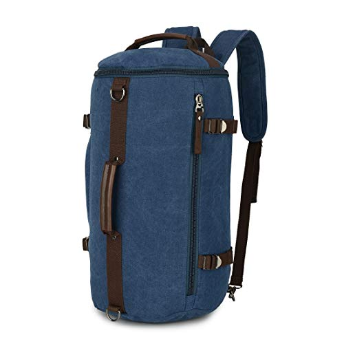 Handcuffs Canvas Men Weekend Travel Duffel Bag Backpack Hiking Rucksack (Blue)