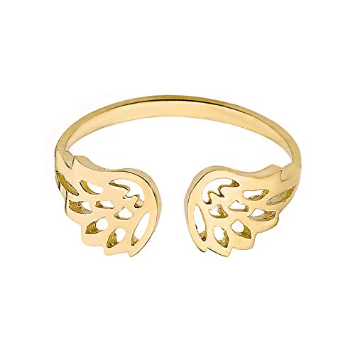 (Dainty 10k Yellow Gold Guardian Angel Filigree Wings Ring (Size 7))