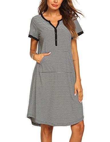 (Ekouaer Women Sleepwear Striped Dress Short Sleeve Sleepshirt Nightgown Black White)