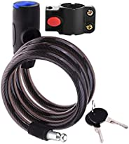 Bike Lock, 2.8Ft Bike Cable Lock with Keys, Security Motorcycle Bicycle Cable Master Lock
