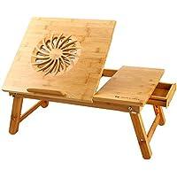 Laptop Desk Nnewvante Adjustable Laptop Desk Table 100% Bamboo with USB Fan Foldable Breakfast Serving Bed Tray w…