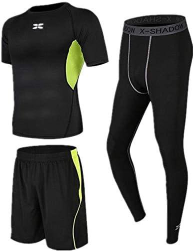 コンプレッションタイトフィットネススーツランニングショーツコンプレッションレギンス。メンズドライショートスリーブコンプレッションセットフィットネスウェア3 in 1 Set with Short Sleeve Outdoor Sportswear Suit Men