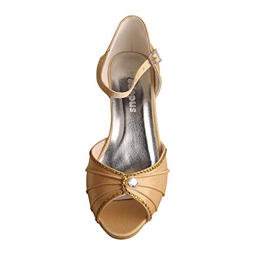 Low Peep Satin Women Gold Wedopus Toe Mary Jane Wedding Pleated Prom Shoes Rhinestones Heel MW033B Z4FwT