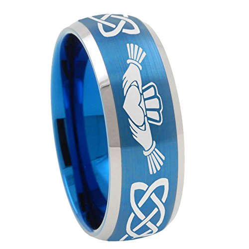 Free Engrave 8mm Irish Claddagh Tungsten Satin Blue Dome Two Tone Ring Size 7