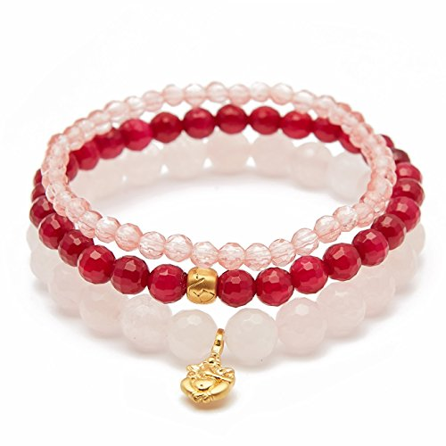 - Satya Jewelry Women's Rose Quartz Fuchsia Agate Cherry Quartz Gold Ganesha Lotus Stretch Bracelet Set, One Size