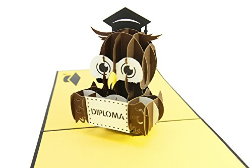 PopLife Graduation Diploma Owl 3D Pop Up Greeting Card - Grad Announcement, Graduate Degree, Diploma Ceremony Invite - Folds Flat for Mailing - Congratulations, Commencement Card, Class of 2018 Flat Card Invites