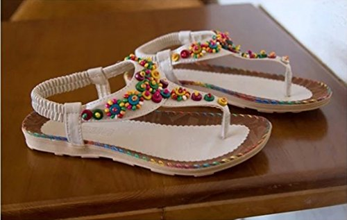 YOUJIA Women Bead Boho Folk Round Clip Toe Sandals Beach Flip Flops Flat Elastic T-Strap Thong Sandals Shoes Beige rdfdt