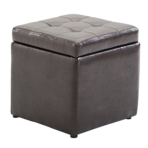 "HOMCOM 16"" Cube PU Leather Tufted Storage Ottoman Footrest Seat - Dark Brown"