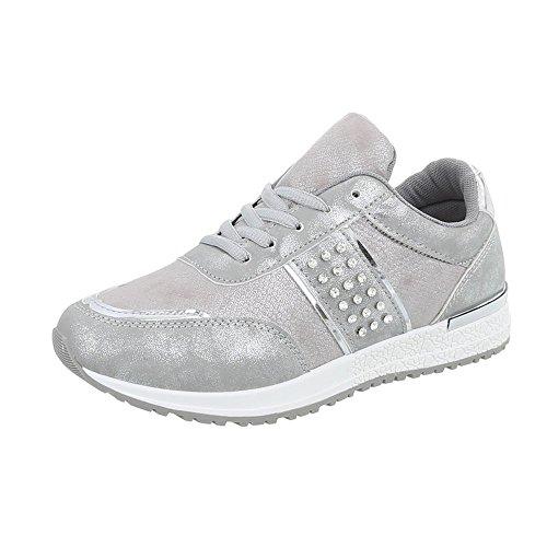 Ital-Design Sneakers Low Damen-Schuhe Sneakers Low Sneakers Schnürsenkel Freizeitschuhe Grau Silber, Gr 41, P-18-