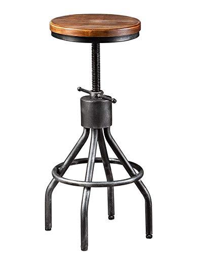 Farmhouse Barstools Set of 2 Industrial Bar Stool-Vintage Adjustable Round Wood Metal Swivel Bar Stool-Cast Iron-23-30 Inch Tall Counter Bar… farmhouse barstools