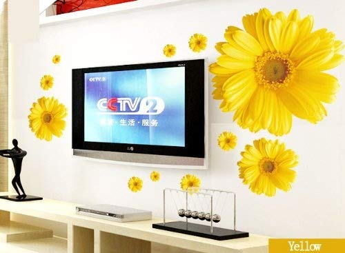 Set of 9 Yellow Chrysanthemums Daisy Flowers Wall Sticker Decal Home Decor for Living Bed Room Study TV Wall by Hithop (Image #2)